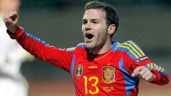 Juan Mata celebrates after scoring Spain's final goal in a 3-1 win in Lithuania.