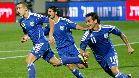 Winger Tal Ben Haim (l) came off the bench to earn the win for Israel against Georgia. No, not that Ben Haim.