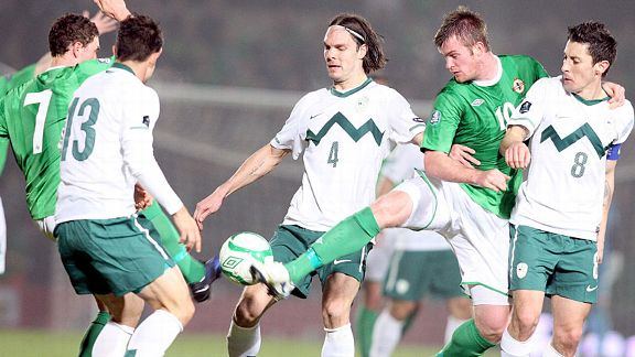Chris Brunt (10) battles the ball as Northern Ireland draw 0-0 at home to Slovenia.