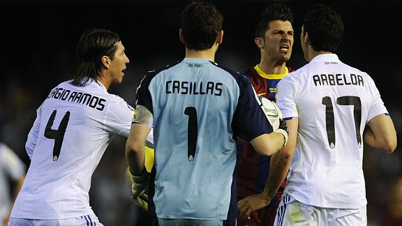 David Villa was angered by an apparent stamp by Alvaro Arbeloa in a fiery first half