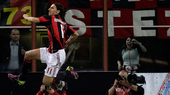 Zlatan Ibrahimovic put Milan 1-0 up in the Coppa Italia semi-final, second leg against Palermo