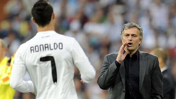 Jose Mourinho tries to get his orders across to a frustrated Cristiano Ronaldo