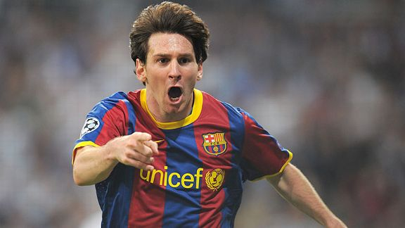 Lionel Messi celebrates after scoring his first at the Bernabeu.