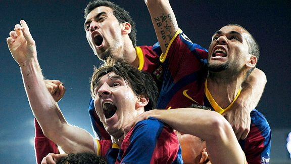 It's all smiles for Barcelona after Lionel Messi's second goal put them on the brink of the Champions League final.