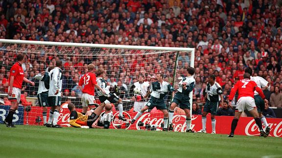 Manchester Utd 1-0 Liverpool, 1996: Eric Cantona made his mark at Wembley, taking a backward step to fire a memorable goal past the Liverpool defence.