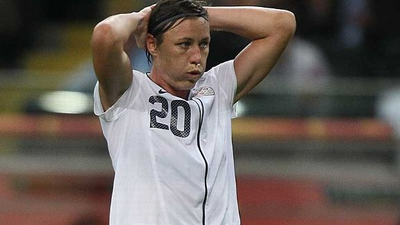 Abby Wambach shows the frustration of the first half for USA