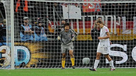 On the spot: Ayumi Kaihori celebrates as Tobin Heath misses her attempt