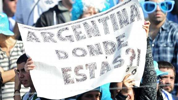 Uruguay fans hold a banner that reads 'Argentina, where are you?'
