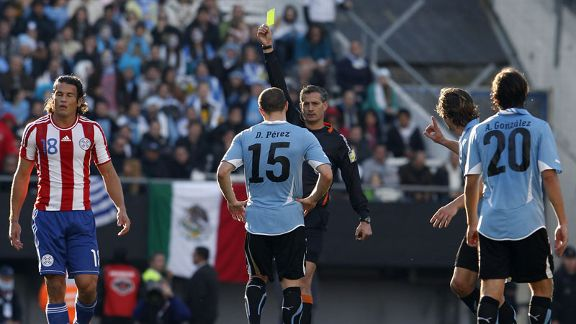 Diego Perez was one of three Uruguay players booked during the first half