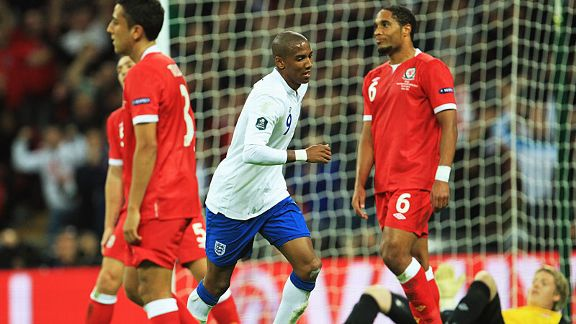 England's Ashley Young celebrates his opening goal against Wales