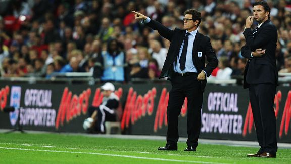 Gary Speed the Wales manager and Fabio Capello of England