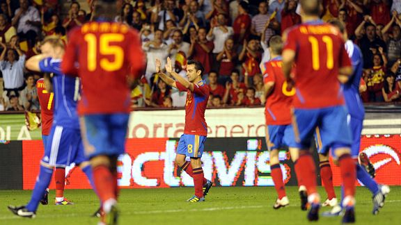 Spain midfielder Xavi Hernandez celebrates after scoring against Liechtenstein