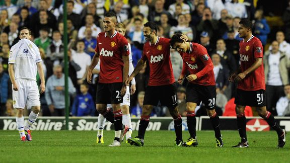 Ryan Giggs enjoys the moment after a fine solo effort made it 3-0 against Leeds