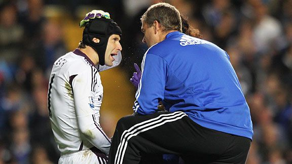 Petr Cech gets treatment