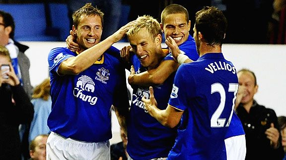 Everton celebrate after Phil Neville put the Toffees 2-1 to the good against WBA