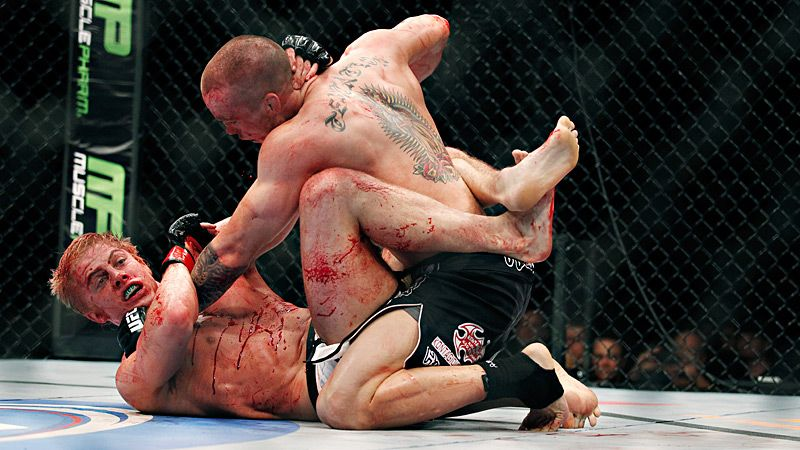 Lance Benoist and Matthew Riddle battle during UFC's Battle on the Bayou in New Orleans.