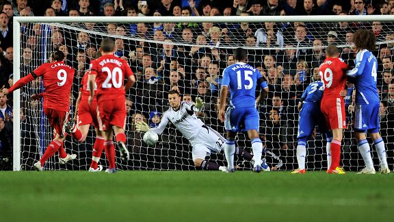 Chelsea goalkeeper Ross Turnbull saves Andy Carroll's penalty