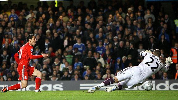 Liverpool's Maxi Rodriguez opens the scoring against Chelsea