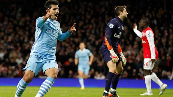 Sergio Aguero celebrates his winner against Arsenal