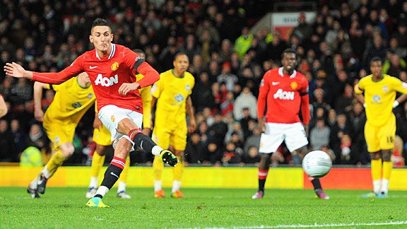 Federico Macheda scores from the spot