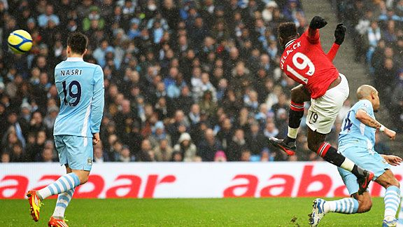 Danny Welbeck scores Man United's second at Eastlands with a superb volley.