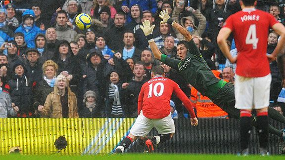 Wayne Rooney stoops to score number three despite Costel Pantilimon saving his penalty.