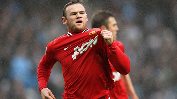 Wayne Rooney celebrates his fine early header