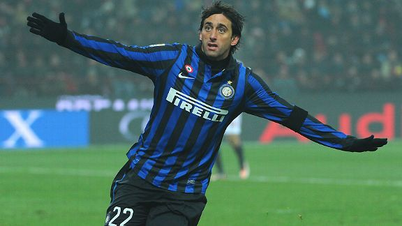 Inter's Diego Milito celebrates his goal in the Milan in the derby