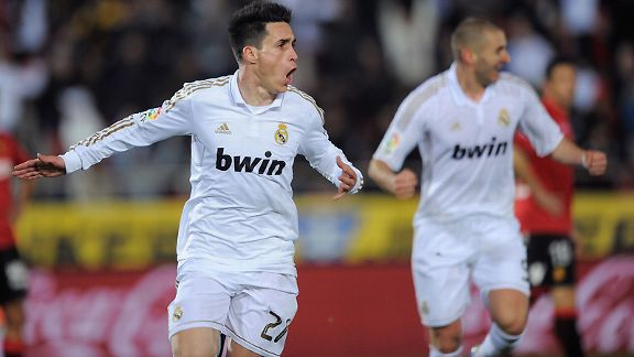 Real Madrid's Jose Callejon celebrates his late winner against Mallorca