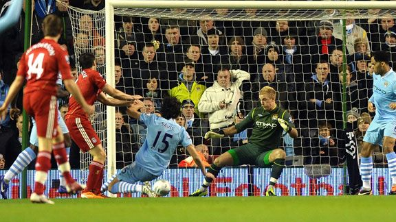Joe Hart save from jose Enrique Liverpool v Man City