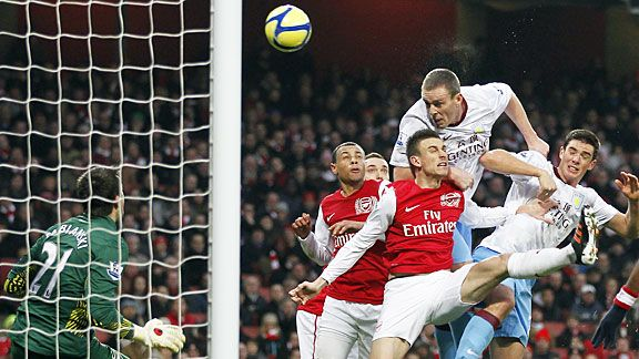 Richard Dunne heads Villa in front at Arsenal