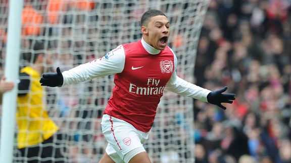 Alex Oxlade-Chamberlain celebrates his first ever Premier League goal