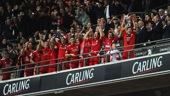 Liverpool celebrate winning their first major trophy at Wembley since1995