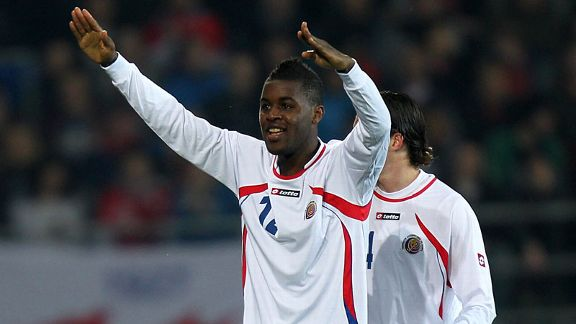 Joel Campbell celebrates scoring the winning goal for Costa Rica