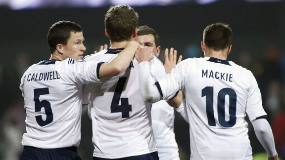 Scotland celebrate Christophe Berra's equalising goal