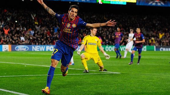 Christian Tello of Barcelona celebrates after scoring his team's fourth goal