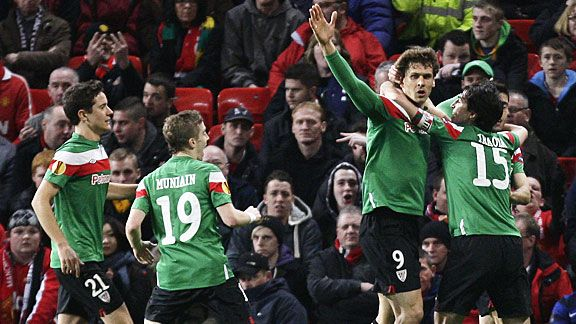 Athletic Bilbao celebrate after Fernando Llorente put them level at Manchester United.