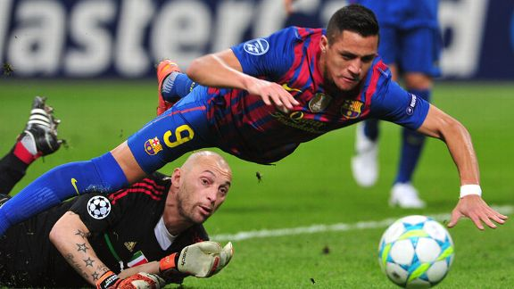 Alexis Sanchez goes down under the challenge of Christian Abbiati