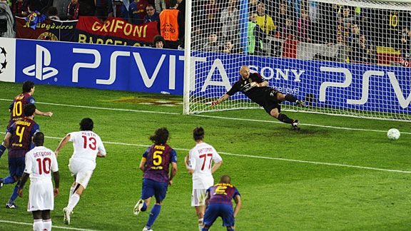 Lionel Messi sends Christian Abbiati the wrong way for his second penalty of the night.