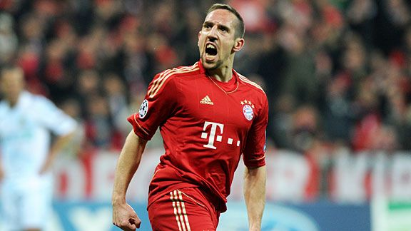 Franck Ribery screams at his former fans from Marseille after Bayern scored their first goal.