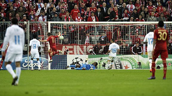 Ivica Olic nets his second goal against Marseille.