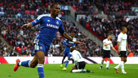 Didier Drogba celebrates after putting Chelsea into the lead with a fine strike