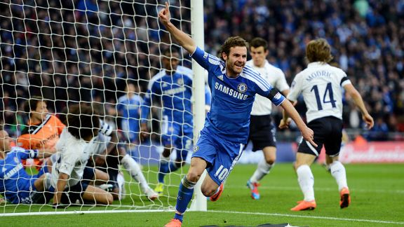 Juan Mata celebrates his controversial goal at Wembley