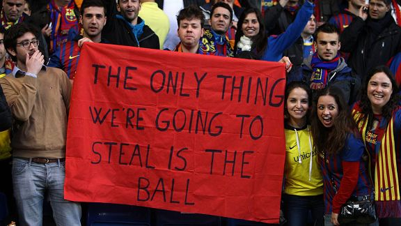 Barcelona fans display a banner at Stamford Bridge ahead of the kick-off
