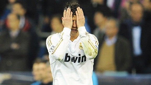 Cristiano Ronaldo is crestfallen after missing Real's first penalty in the shootout.