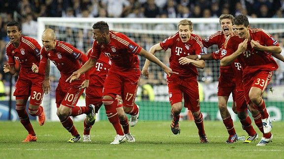 Bayern Munich celebrate after Bastian Schweinsteiger fired home the winning spot-kick.