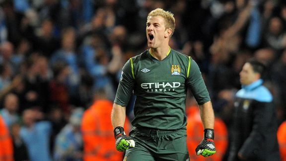 Joe Hart celebrates as the final whistle blows at the Etihad