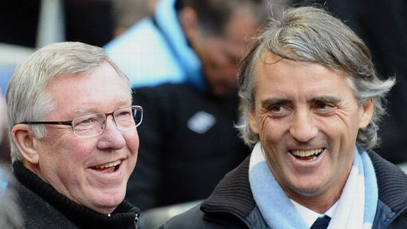 Sir Alex Ferguson and Roberto Mancini look relaxed ahead of the kick-off