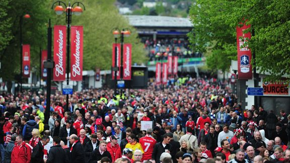 Fans make their way up Wembley Way ahead of the match
