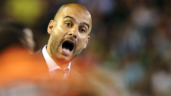 Pep Guardiola Barcelona open mouthed